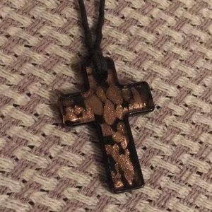 Glass cross necklace on cotton cord